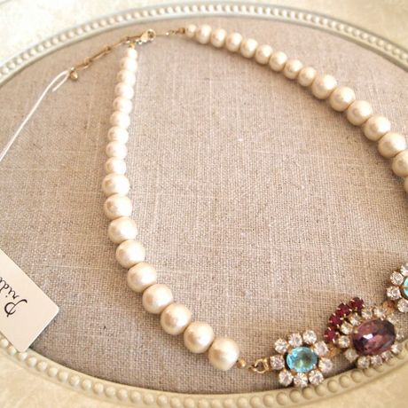 cotton pearl bijoux necklace petite purple x blue
