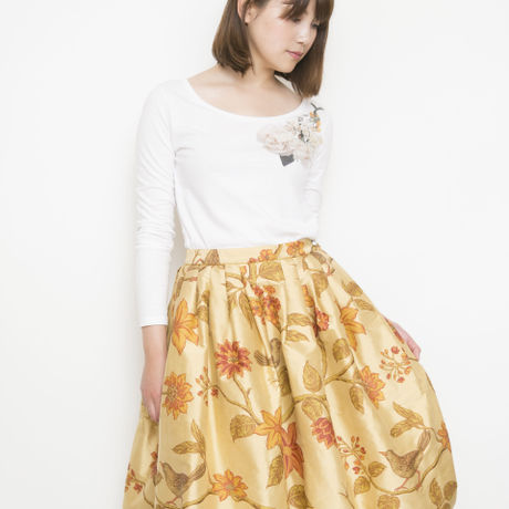 【SALE】silk bird print Skirt