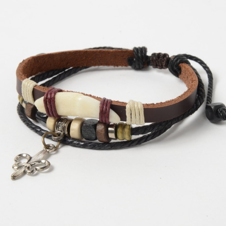 Beads & Charm Leather Bracelet[グラディエーター] (ビーズ&チャーム レザーブレスレット)