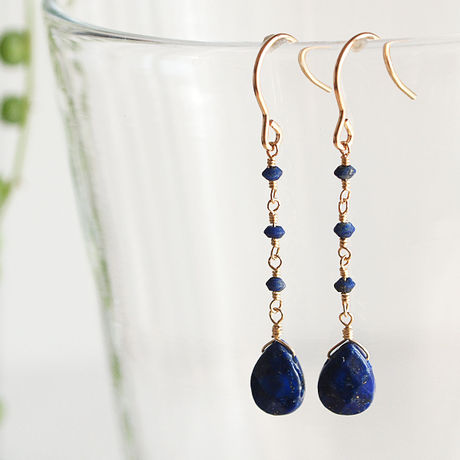 14KGF Lapis Lazuli Drop Earrings