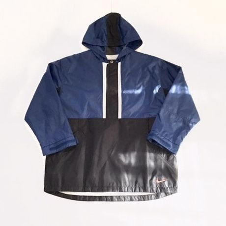 USED NIKE half zip nylon jacket ブルー×ブラック M
