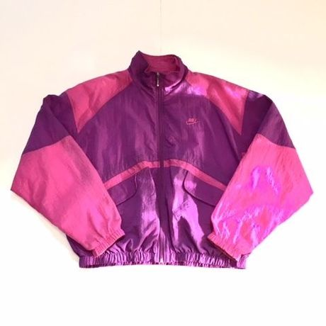 USED NIKE nylon jacket ピンク×パープル L