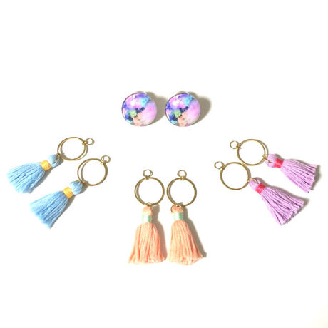 Glass cabochon & Tassel EarJacket  Tiedye No,1