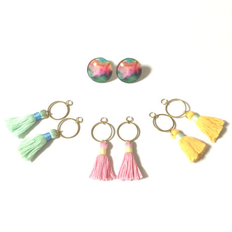 Glass cabochon & Tassel EarJacket  Tiedye No,2