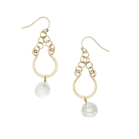 14k gold filled  Petit smily earring -Crystal quartz