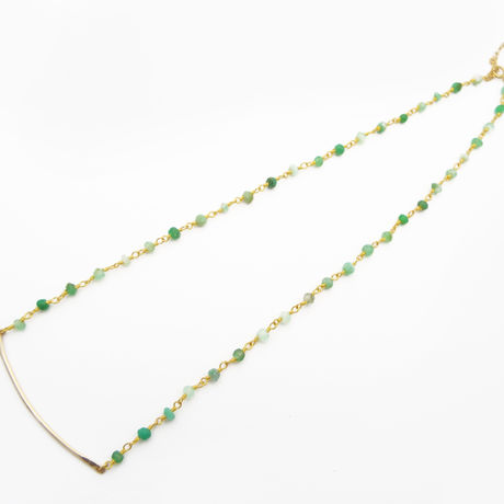 Chrysoprase cross line necklace