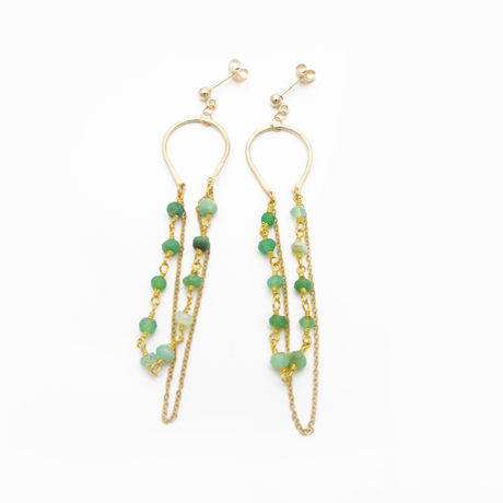 Chrysoprase dangle ピアス