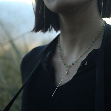 Chrysoprase Y chain necklace