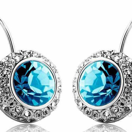 Ocean Blue Rhinestone Crystal Dangle Earrings