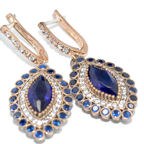 Gorgeous Deep Blue And White Sapphire Earrings