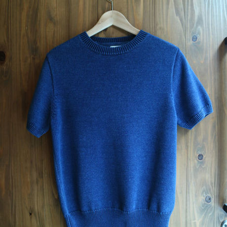 HARD INDIGO COTTON KNIT T-SHIRT