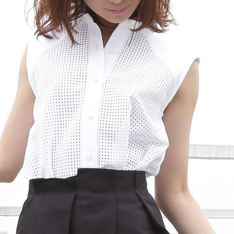 mesh shirts collar blouse