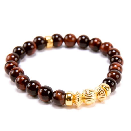 RED TIGER EYE & GOLD BALL BRACELET -8mm-