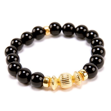 BLACK ONYX & GOLD BALL BRACELET -10mm-