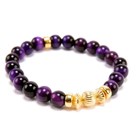 PURPLE TIGER EYE & GOLD BALL BRACELET -8mm-