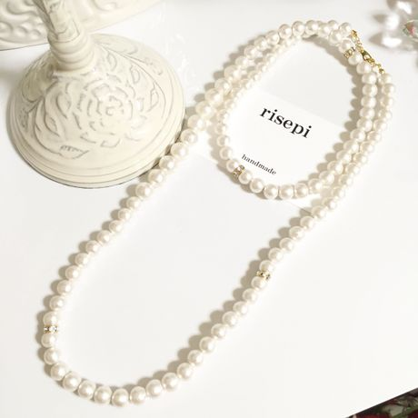 2way cottonpearl necklace