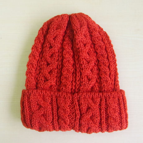 HIGHLAND 2000 British Wool Cable Bobcap Red ハイランド2000 ニットキャップ