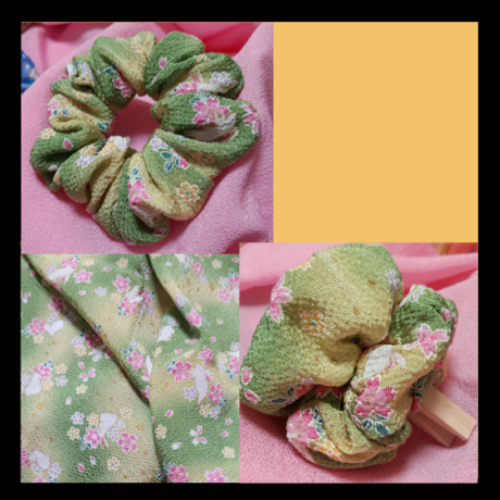 KIMONO Scrunchie,  sakura & rabbit , light green