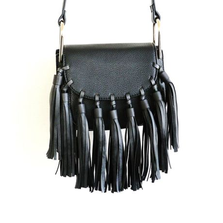 TASSEL SHOULDER BAG - Black