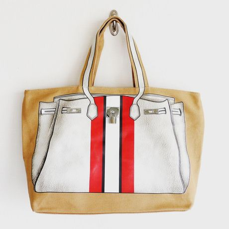 PRINT BAG(CANVAS TOTE): white-red stripe LL-size