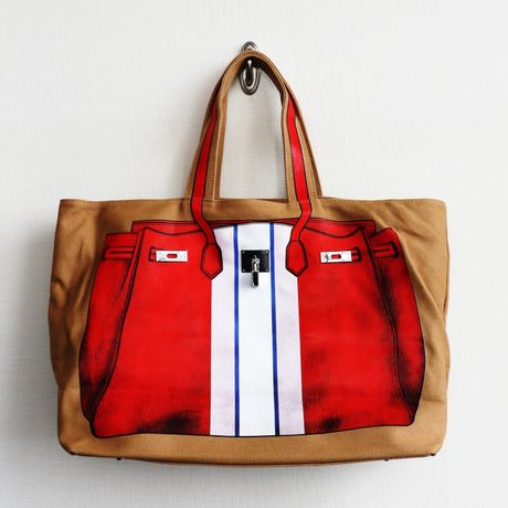 PRINT BAG(CANVAS TOTE): red-stripe  LL-size