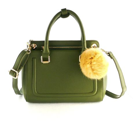 HANDBAG with REAL RABBIT FUR CHARM-Olive