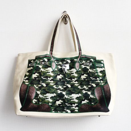 PRINT BAG(CANVAS TOTE): camouflage  LL-size