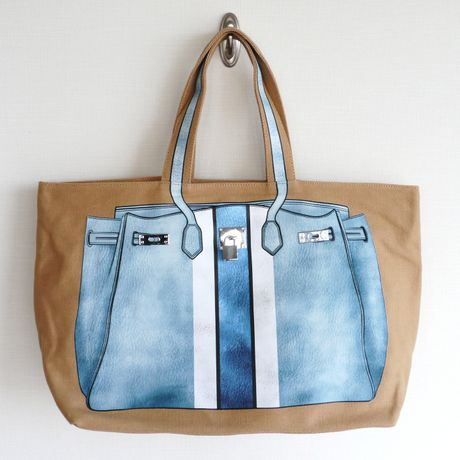 PRINT BAG(CANVAS TOTE): ice blue-stripe LL-size