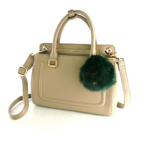 HANDBAG with REAL RABBIT FUR CHARM-Grege