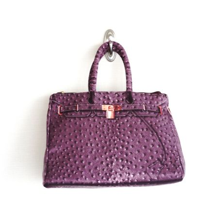 BIRKIN-ISH PRINT BAG: ostrich-purple gray  M-size