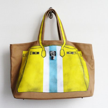 【雑誌「GLITTER」掲載】PRINT BAG(CANVAS TOTE): yellow-stripe  LL-size