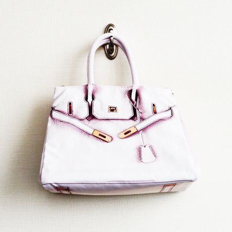BIRKIN-ISH PRINT BAG  leather-white M-size