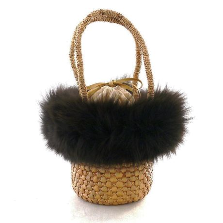MINI BASKET BAG with FOX FUR – DarkBrown
