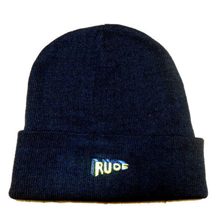 """""""RUDE"""" Cotton Beanie in BLACK."""