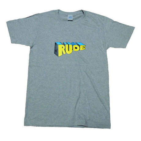 """""""RUDE"""" GRAPHIC Tee in Light Gray."""