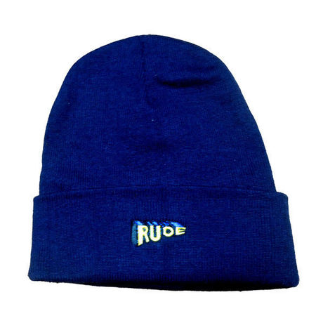 """""""RUDE"""" Cotton Beanie in NAVY."""