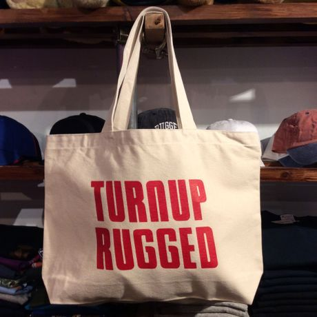 """RUGGED """"TURN UP RUGGED"""" tote bag(Cream)"""