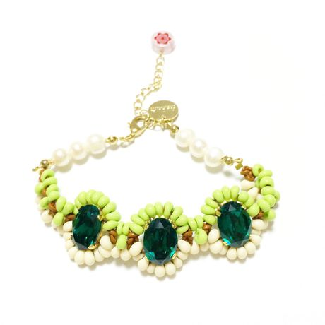 SWAROVSKI Mix color ブレスレット  LB150102-Emerald