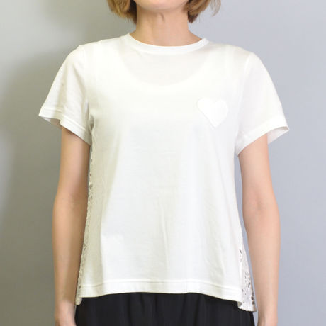 【MUVEIL WORK】 HEART PATCH TEE WITH LACE