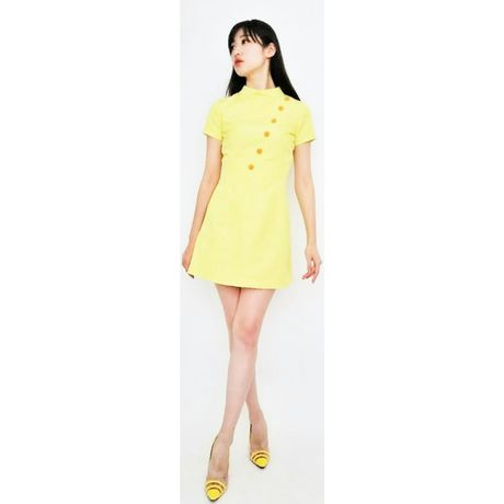 1C Bias Cut Grogram Dress-yellow-
