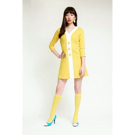 V-line Button Three Quarter Length Sleeved Dress-yellow-mini