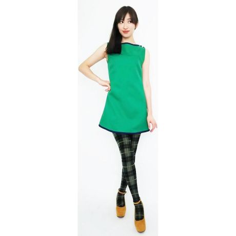 Yoke Cut Piping Dress-green-