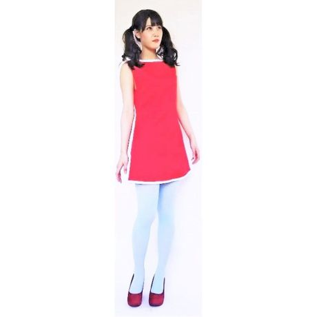Yoke Cut Piping Dress-red-