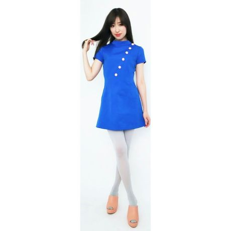 1C Bias Cut Grogram Dress-blue-