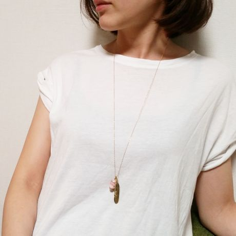 feather  Pink  long Necklace