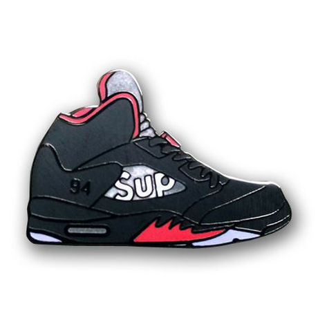 """PIN DROP NYC """"AIR JORDAN 5×SUPREME"""" BLACK"""