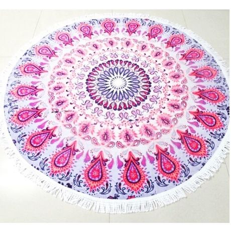 Round Beach Towel・pink red