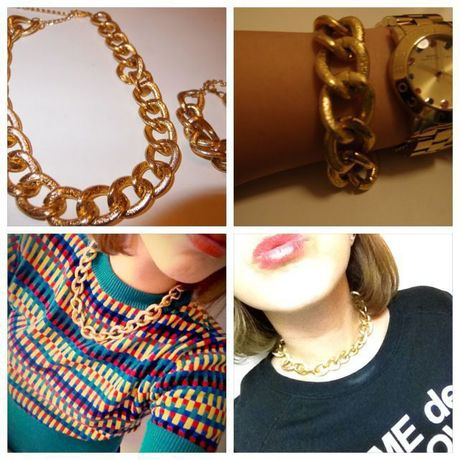 gold chain neckless and bracelet set
