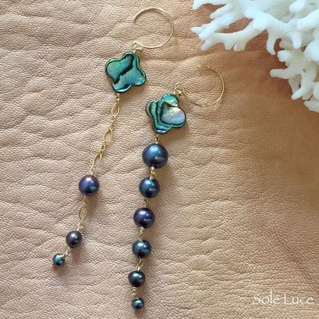 14KGF Abalone Shell & Fresh Pearl Asymmetry ピアス