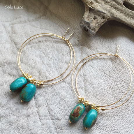 14KGF Nugget Turquoise Hoop Earrings